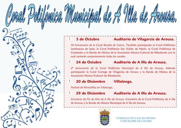 Calendario de actuacións da Coral Polifónica Municipal de A Illa de Arousa