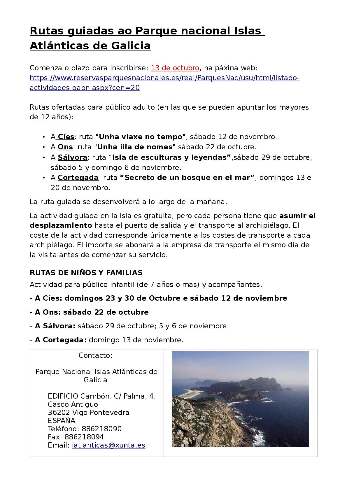 Rutas guiadas ao Parque Nacional Islas Atlánticas de Galicia
