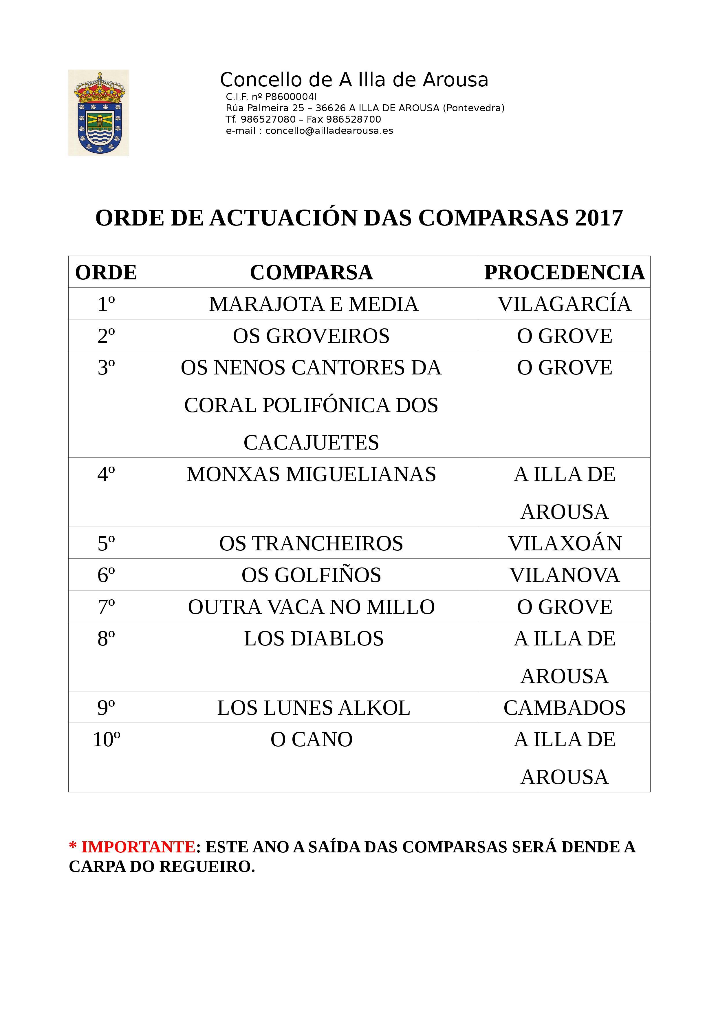 Orde de actuación das Comparsas 2017