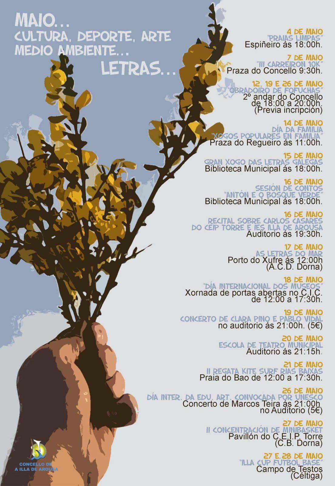 AXENDA MAIO: CULTURA, DEPORTES, ARTE, MEDIO AMBIENTE, LETRAS…
