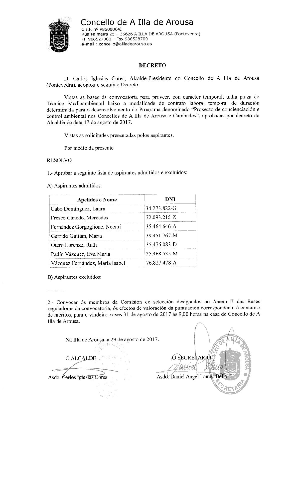 DECRETO: LISTA ADMITIDOS TÉCNICO MEDIOAMBIENTAL