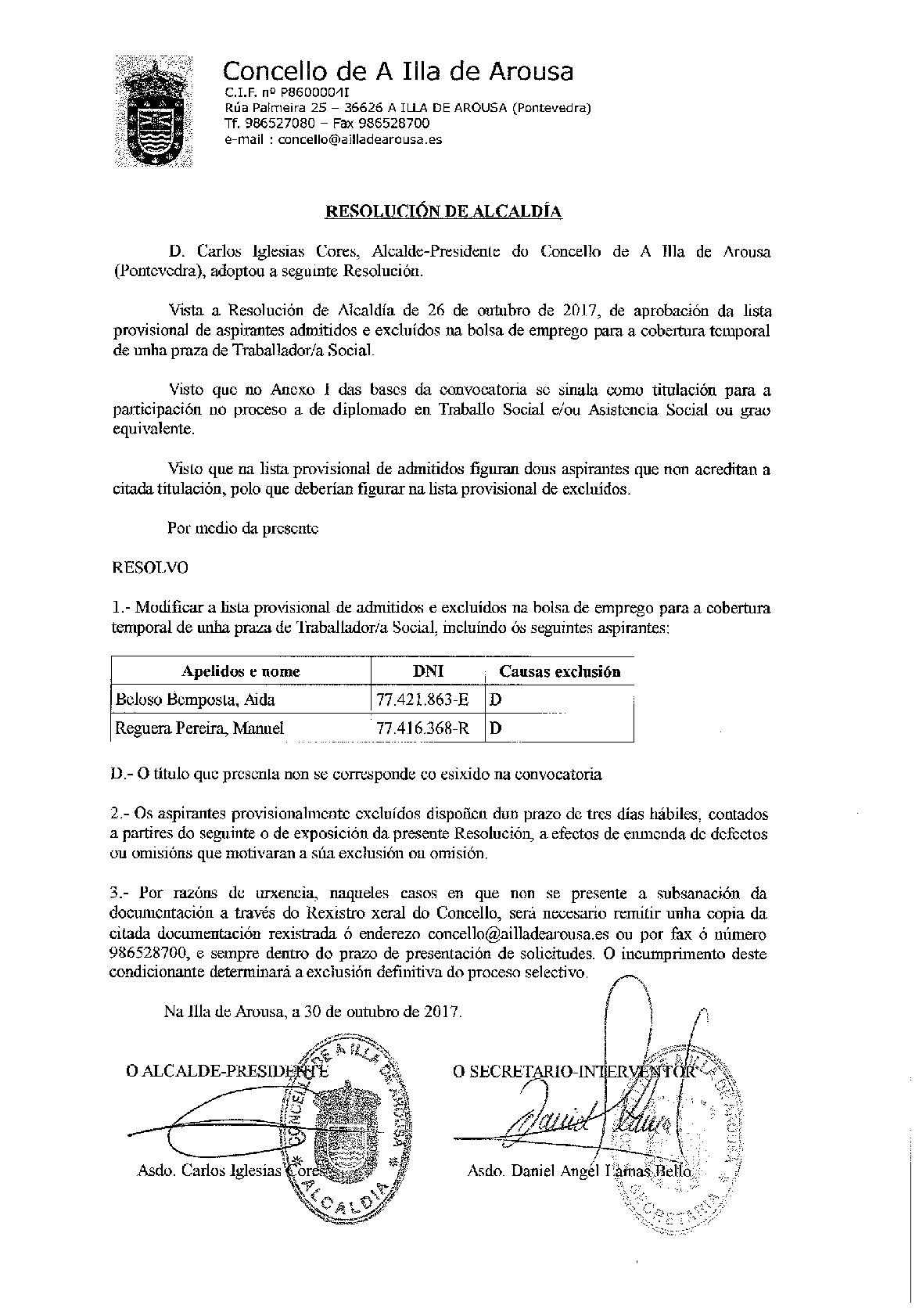 MODIFICACIÓN DA LISTA PROVISIONAL DE ASPIRANTES ADMITIDOS
