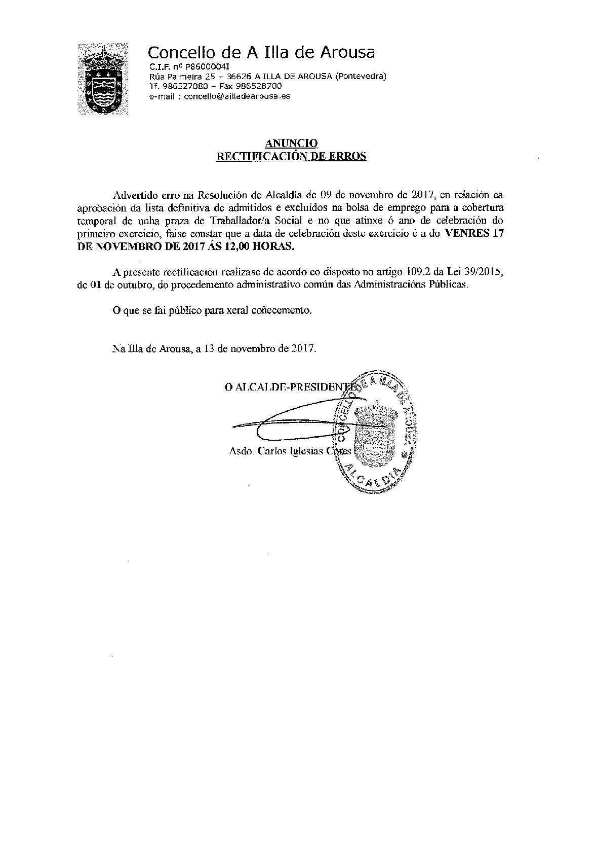 ANUNCIO RECTIFICACIÓN DE ERROS