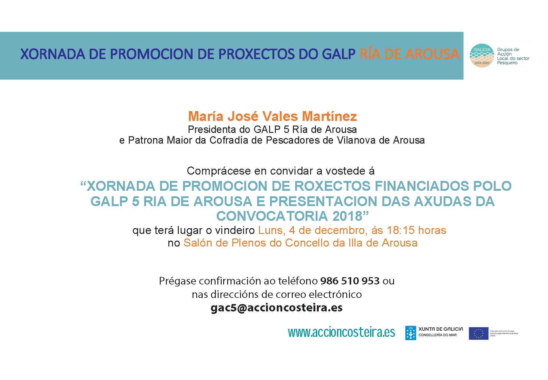 XORNADA DE PROMOCIÓN DE PROXECTOS DO GALP RÍA DE AROUSA