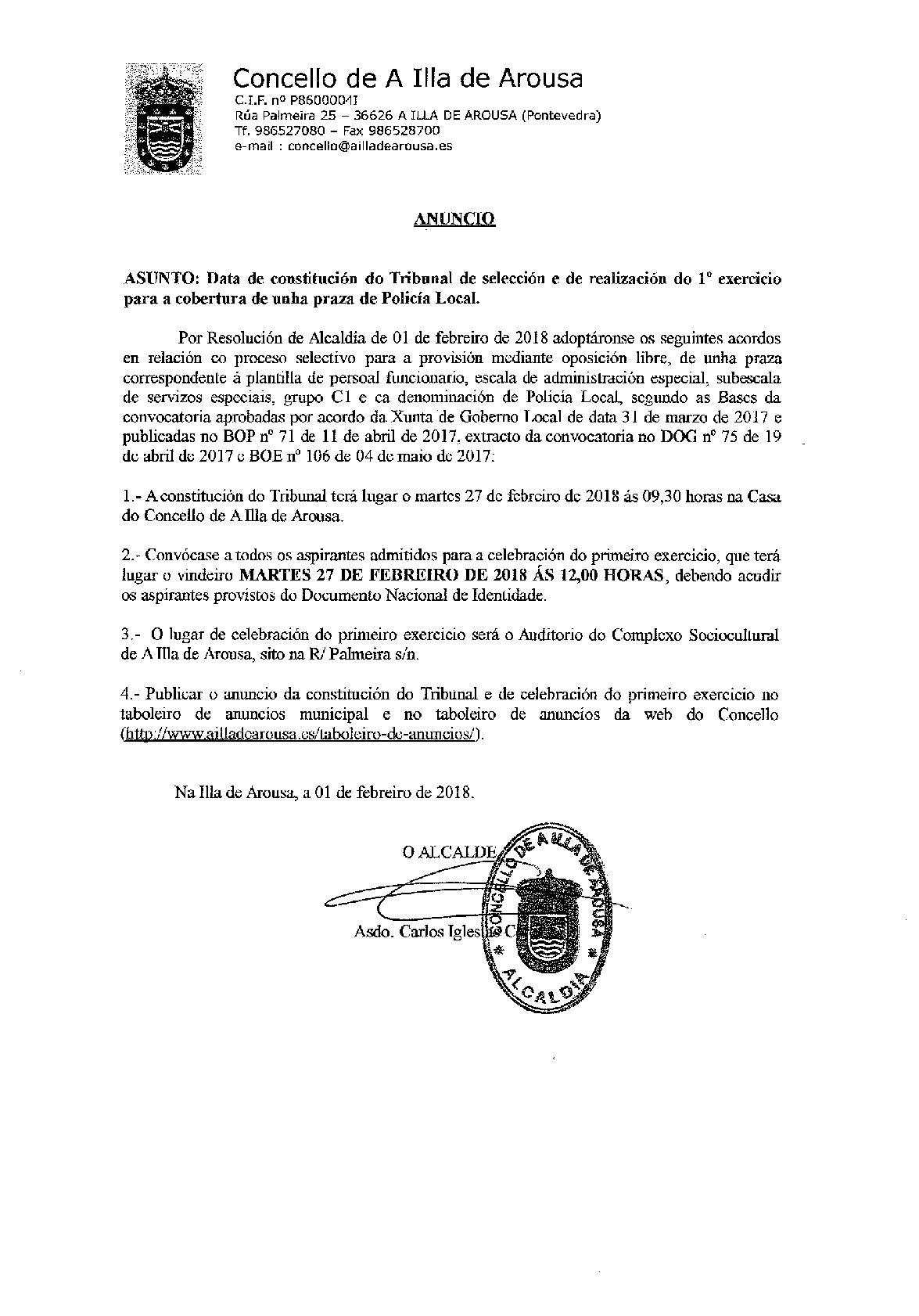 CONSTITUCIÓN TRIBUNAL DE SELECCIÓN PARA O 1º EXERCICIO PRAZA POLICÍA LOCAL