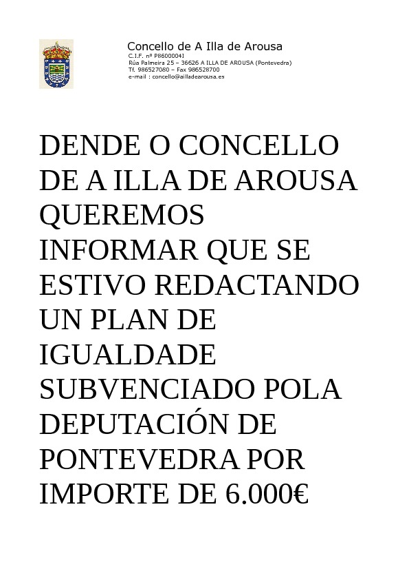 PLAN DE IGUALDADE SUBVENCIONADO POLA DEPUTACIÓN DE PONTEVEDRA