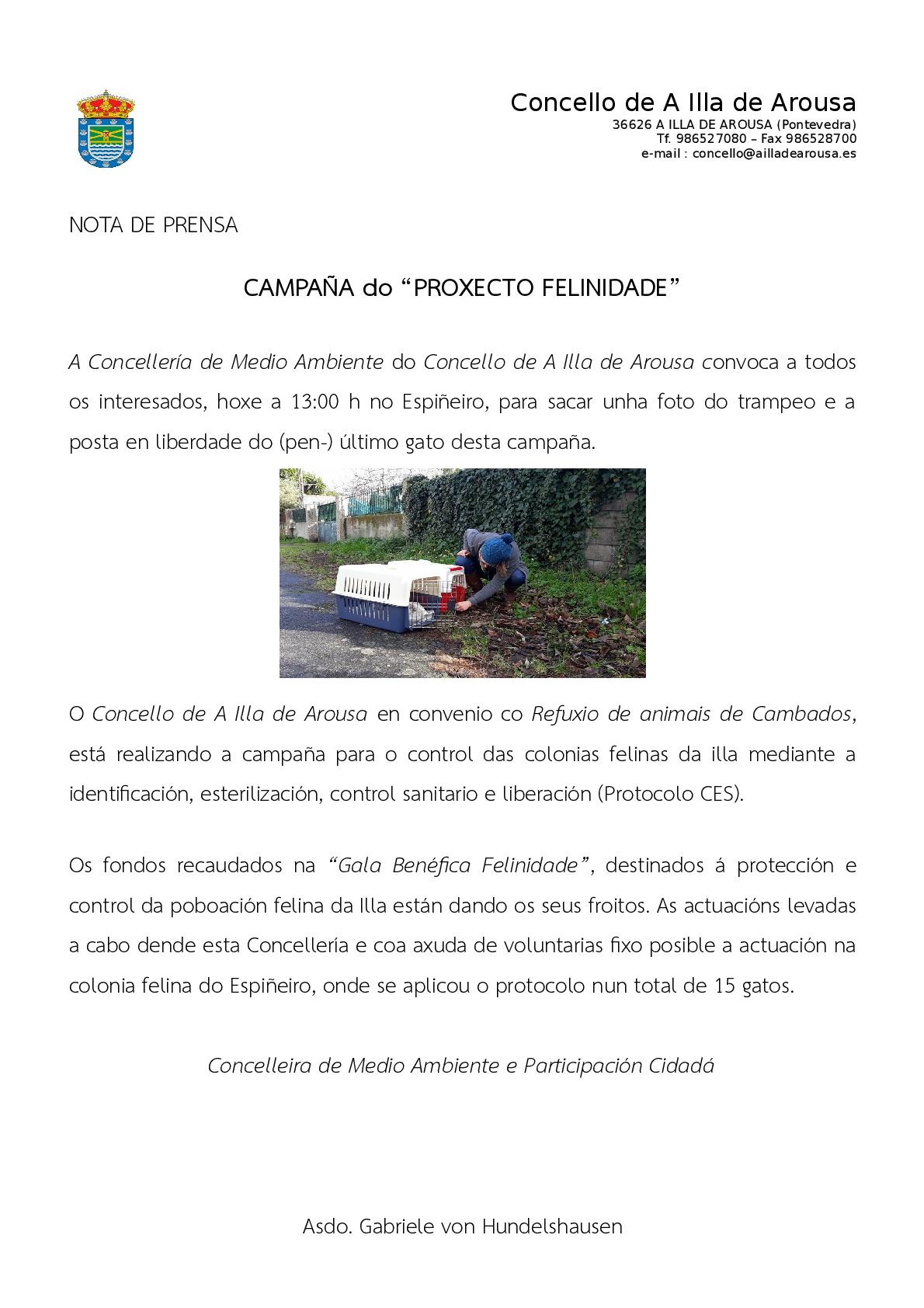 """Convocatoria Campaña """"Proxecto Felinidade"""""""