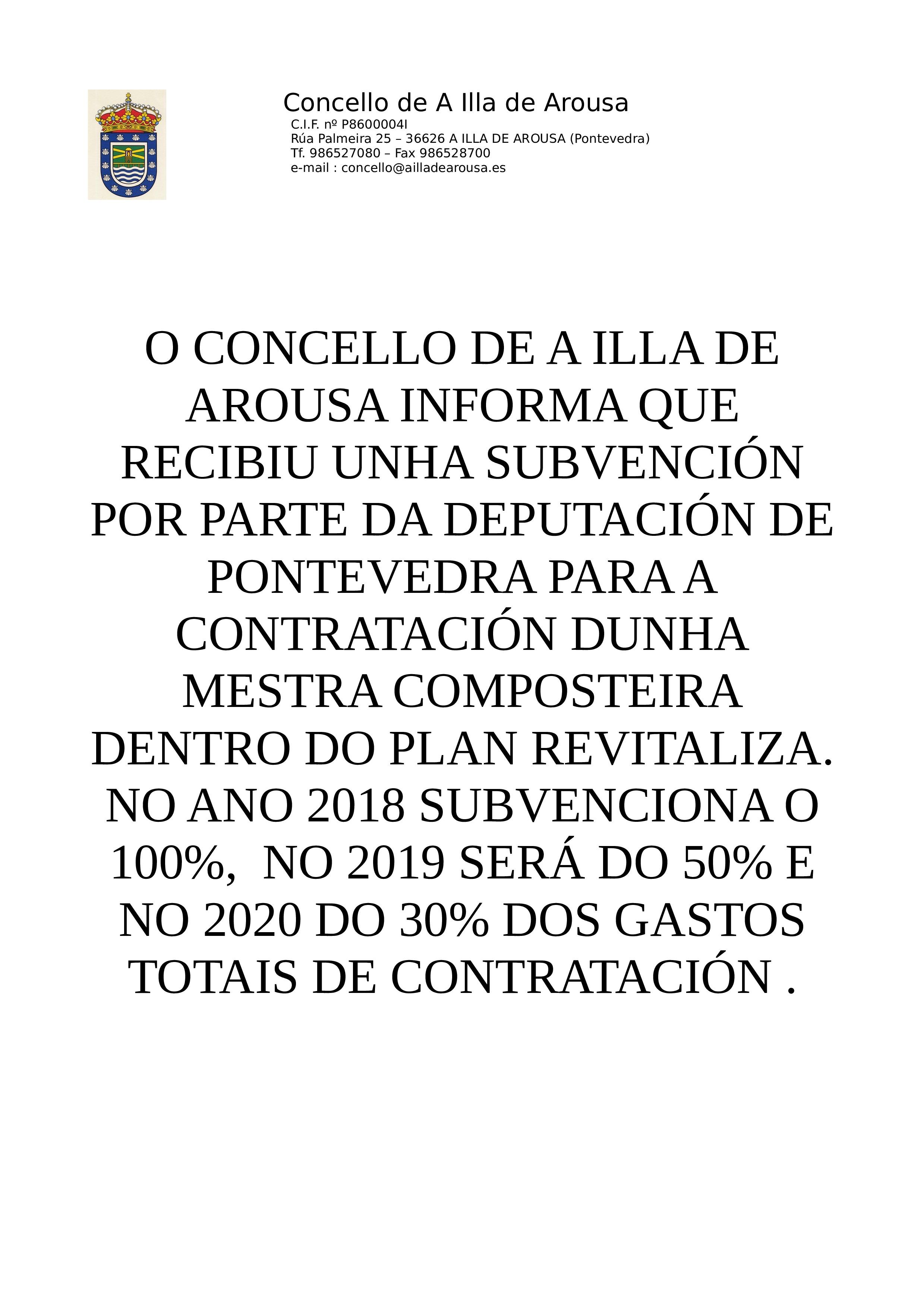 SUBVENCIÓN PARA A CONTRATATACIÓN DUNHA MESTRA COMPOSTEIRA