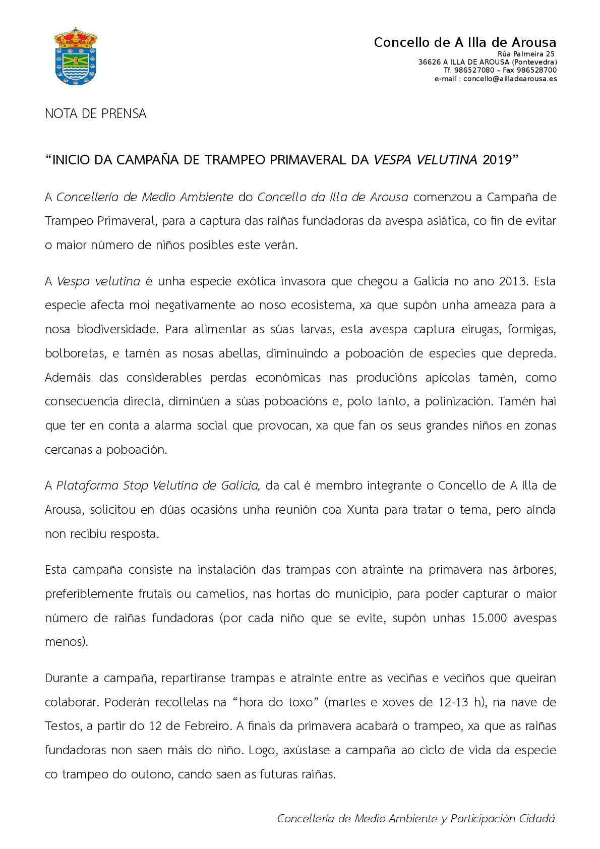 INICIO DA CAMPAÑA DE TRAMPEO PRIMAVERAL DA VESPA VELUTINA 2019