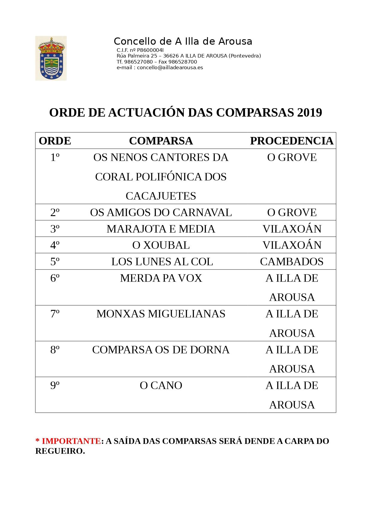 ORDE COMPARSAS 2019