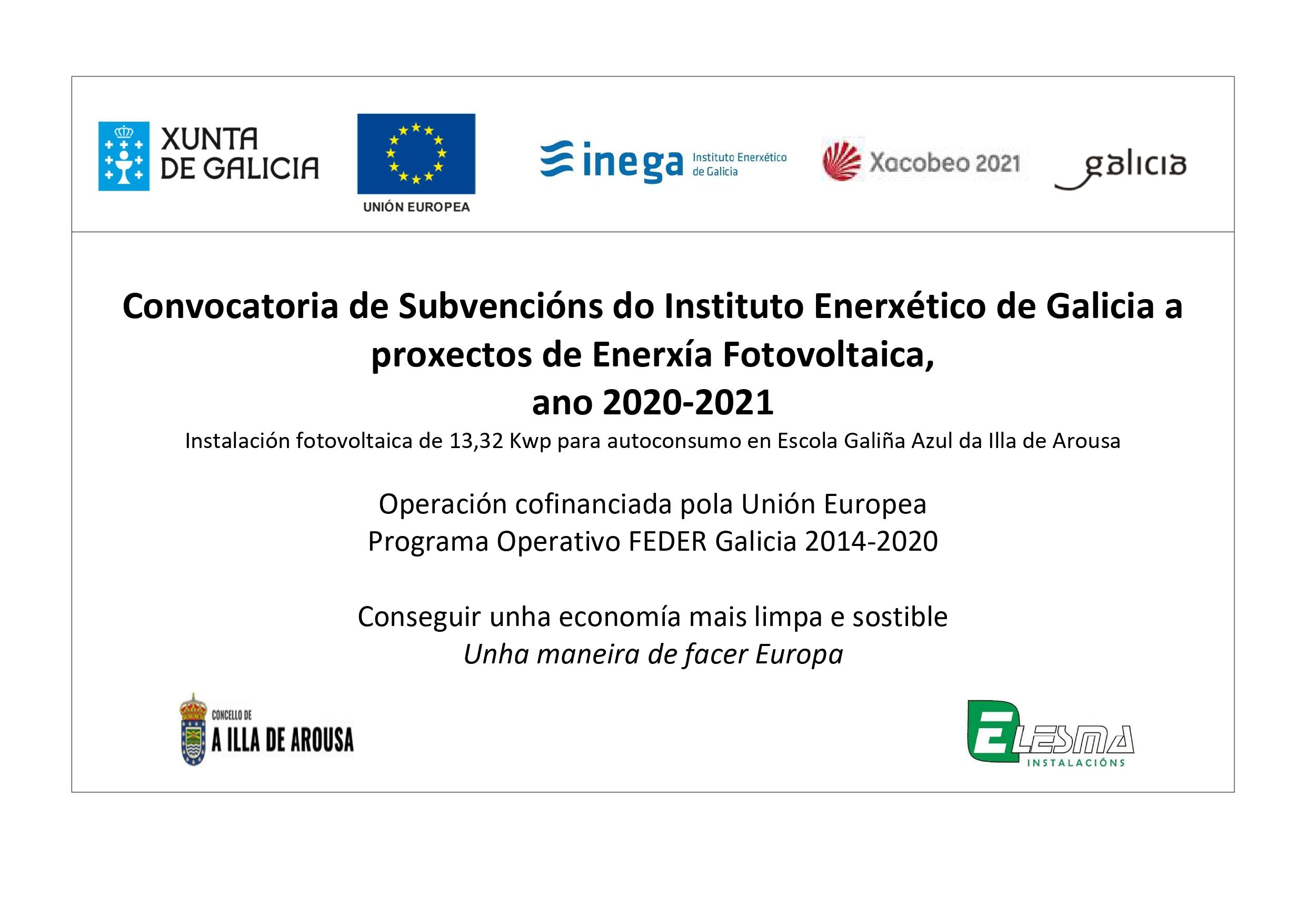 Convocatoria de Subvencións do Instituto Enerxético de Galicia a proxectos de Enerxía Fotovoltaica, ano 2020-2021